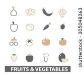 fruits  vegetables flat icons ... | Shutterstock .eps vector #305048363