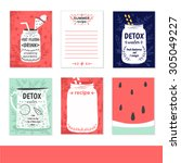cooking cards  notes  stickers  ... | Shutterstock .eps vector #305049227