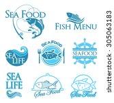 vector sea food labels | Shutterstock .eps vector #305063183