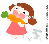 little girl happy when she eat... | Shutterstock .eps vector #305072537