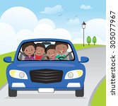 cheerful family driving in car... | Shutterstock .eps vector #305077967