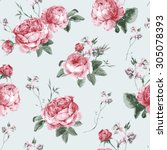 vintage floral seamless... | Shutterstock .eps vector #305078393