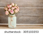 bouquet of pink roses in... | Shutterstock . vector #305103353