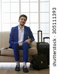 business man with suitcases... | Shutterstock . vector #305111393
