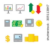 business and finance icon set.... | Shutterstock .eps vector #305113847