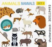 Animals Mammals Icon Set....