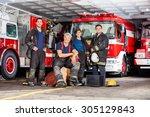 portrait of happy firefighter's ... | Shutterstock . vector #305129843
