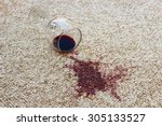 glass of red wine fell on carpet | Shutterstock . vector #305133527