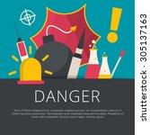 danger concept in flat design.... | Shutterstock .eps vector #305137163