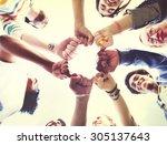 friends friendship fist bump... | Shutterstock . vector #305137643