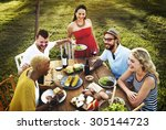 diverse people party... | Shutterstock . vector #305144723