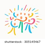 celebration people. | Shutterstock .eps vector #305145467