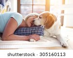 senior woman with dog inside of ... | Shutterstock . vector #305160113