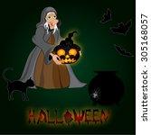 happy halloween poster...   Shutterstock . vector #305168057