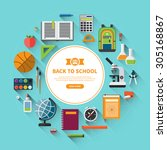back to school background with... | Shutterstock .eps vector #305168867