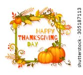 happy thanksgiving day banner... | Shutterstock .eps vector #305187113