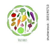 vegetables hand drawn set.... | Shutterstock .eps vector #305190713