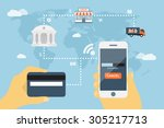 flat style concept for mobile... | Shutterstock .eps vector #305217713