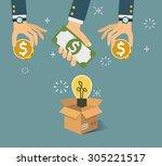 vector crowdfunding concept in... | Shutterstock .eps vector #305221517