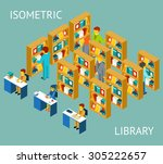 library in isometric flat style.... | Shutterstock . vector #305222657