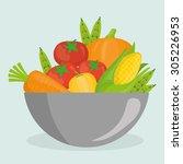 vegan food design  vector... | Shutterstock .eps vector #305226953