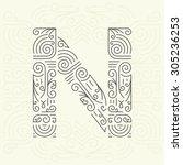 vector mono line style... | Shutterstock .eps vector #305236253