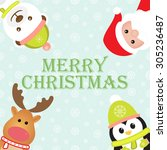 christmas card with santa claus ... | Shutterstock .eps vector #305236487