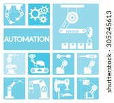 automation icons  robotic icons ... | Shutterstock .eps vector #305245613