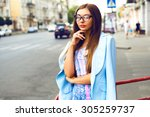 summer street fashion look of... | Shutterstock . vector #305259737