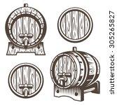 set of vintage wooden barrels... | Shutterstock .eps vector #305265827