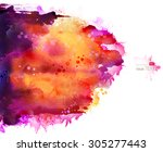 bright watercolor stains with... | Shutterstock .eps vector #305277443
