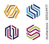 hexagon corporate style vector... | Shutterstock .eps vector #305319977