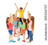 leadership concept boy in... | Shutterstock . vector #305326757