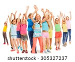 many happy kids together raise... | Shutterstock . vector #305327237