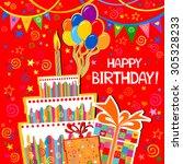 birthday card. celebration red... | Shutterstock .eps vector #305328233
