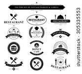set of vintage  food badges and ... | Shutterstock .eps vector #305335553