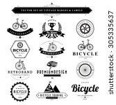set of vintage  bicycle badges... | Shutterstock .eps vector #305335637