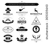 set of vintage  hipster badges... | Shutterstock .eps vector #305335643
