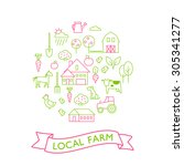 vector set of agriculture icons.... | Shutterstock .eps vector #305341277