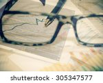analysing stock market with... | Shutterstock . vector #305347577