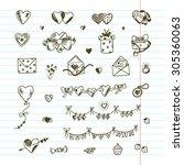 hearts. love symbols. valentine'... | Shutterstock .eps vector #305360063
