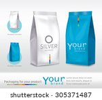 silver blue bag package on a... | Shutterstock .eps vector #305371487