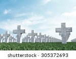 Crosses In Cemetery Memorial O...