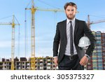 builder architect against the... | Shutterstock . vector #305375327