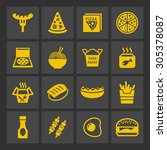 fast food restaurant icons | Shutterstock .eps vector #305378087
