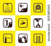 firefighting icons. flat vector ... | Shutterstock .eps vector #305389343