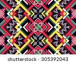 geometric ethnic pattern... | Shutterstock .eps vector #305392043