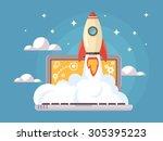 web start up flat style. rocket ... | Shutterstock .eps vector #305395223