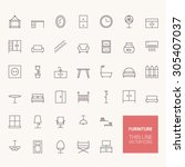 furniture outline icons for web ... | Shutterstock .eps vector #305407037
