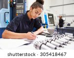engineer planning project with... | Shutterstock . vector #305418467